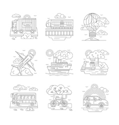 Set of transportation detailed line icons vector