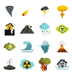 Natural disaster icons set flat ctyle vector