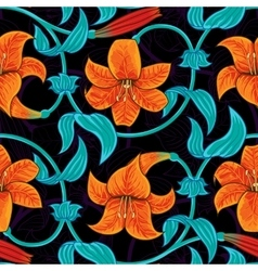 Seamless pattern with lily flowers on dark vector