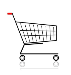 Supermarket cart for your design vector image