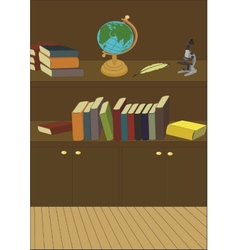 Cabinet in the library with books and globe vector