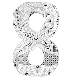 number eight zentangle decorative object vector image