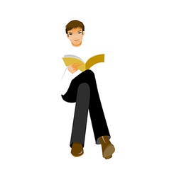 man sitting with book vector image