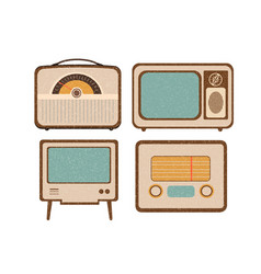 set of retro home electronics radio tv in vintage vector image