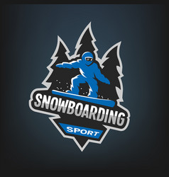 Snowboarding winter sports logo emblem vector