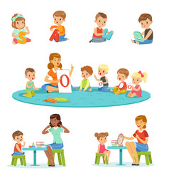 Smiling little boys and girls sitting on the floor vector