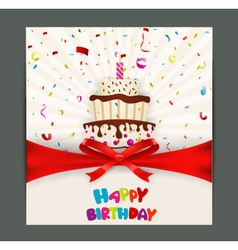 Birthday card design with cake vector