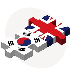 South korea and united kingdom flags in puzzle vector