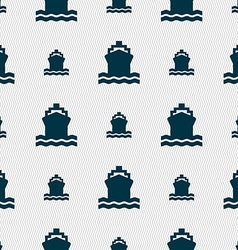 Ship icon sign seamless pattern with geometric vector