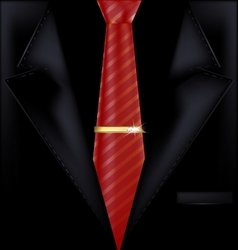 Black suit and red tie vector