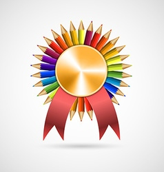 Education pencil award rosette with ribbon vector