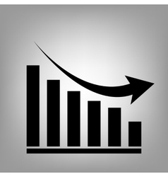 Declining graph icon vector