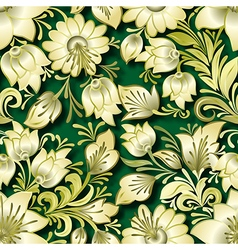 Seamless golden floral ornament on green vector