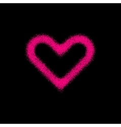 Magenta abstract heart sign with grain texture vector