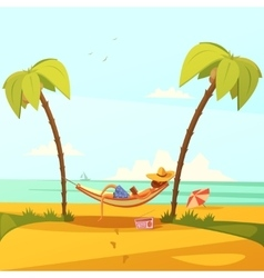 Man on the beach vector