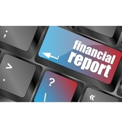 Keyboard key with financial report button vector