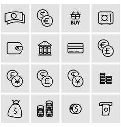 Line money icon set vector