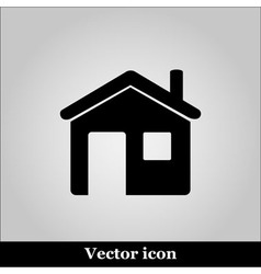 Flat home icon on grey background vector