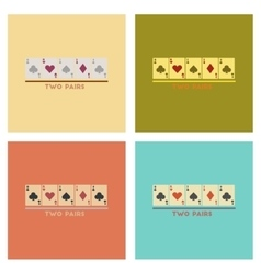 Assembly flat icons poker two pairs vector