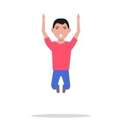 Cartoon man jumping happiness vector