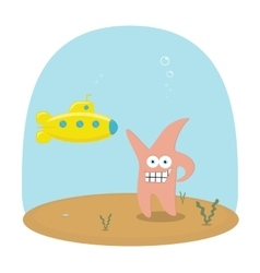 Cartoon scene of underwater ocean with vector image vector image