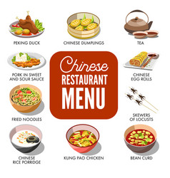 Chinese dishes in menu vector