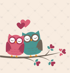 Cute owls in love vector