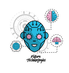 cyberspace human face with futurictic connect vector image vector image