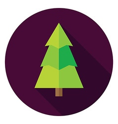 Flat design christmas tree circle icon vector