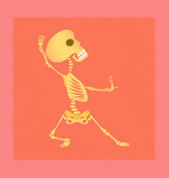 Flat shading style icon skeleton halloween monster vector
