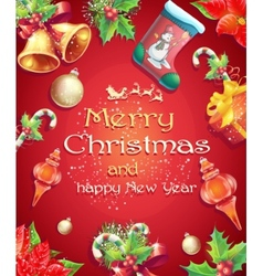 Greeting card with Christmas and New Year with the vector image vector image