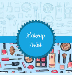 hand drawn makeup and skincare vector image vector image