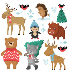 happy forest animals in winter and christmas trees vector image vector image