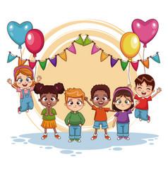 Happy kids on birthday party vector