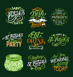 Happy st patrick day greeting lettering and clover vector