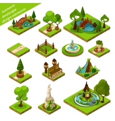 Isometric landscape design elements vector