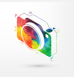isometric watercolor camera vector image vector image