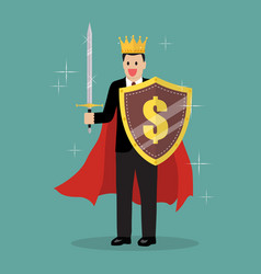 King businessman with shield and sword vector