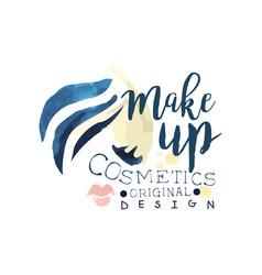 make up cosmetic original logo design label for vector image vector image