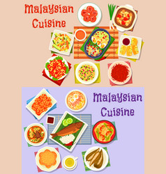 Malaysian cuisine dinner dishes icon set design vector