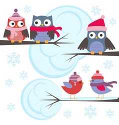 Owls and birds in winter forest vector