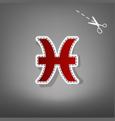 Pisces sign red icon with vector