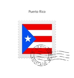 Puerto rico flag postage stamp vector