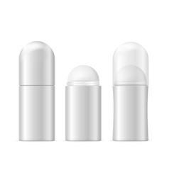 realistic template blank white deodorant roller vector image vector image