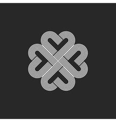 Sacred geometric heart pattern logo hipster vector