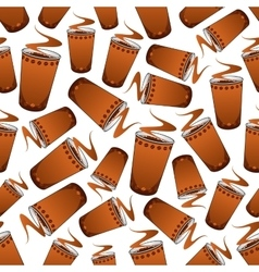 Seamless fast food coffee pattern background vector image