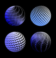set abstract halftone 3d spheres 1 vector image