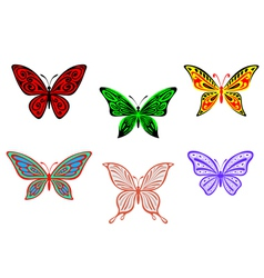 Set of colorful butterflies isolated on white vector image
