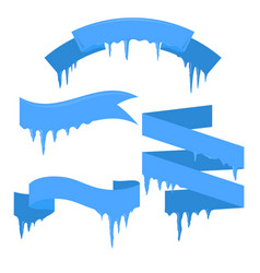 set of ribbons with icicles for your business vector image vector image