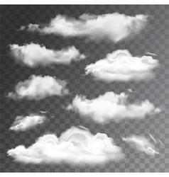 Set of transparent realistic clouds vector image